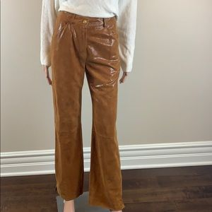 St. John Couture camel suede leather pants size 2